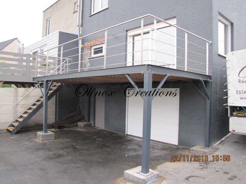 Balcon En Bois Avec Escalier : Recouvrement terrasse lattage de bois en Hainaut, Mouscron