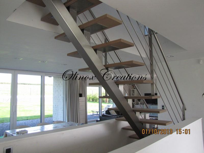 Escalier hainaut fabrication et pose par olinox - Escalier bois interieur ...