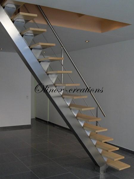 Escalier droit pour int rieur limon central m tal ou inox - Creation escalier interieur ...
