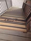 Escalier Iroko lames antidérapante alu peint
