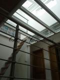 Escalier meunier et mezzanine métal verre et bois