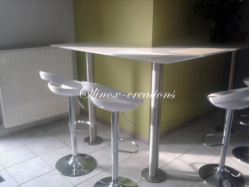Mobilier sur mesure desserte en inox table basse m tal - Table basse pied inox ...
