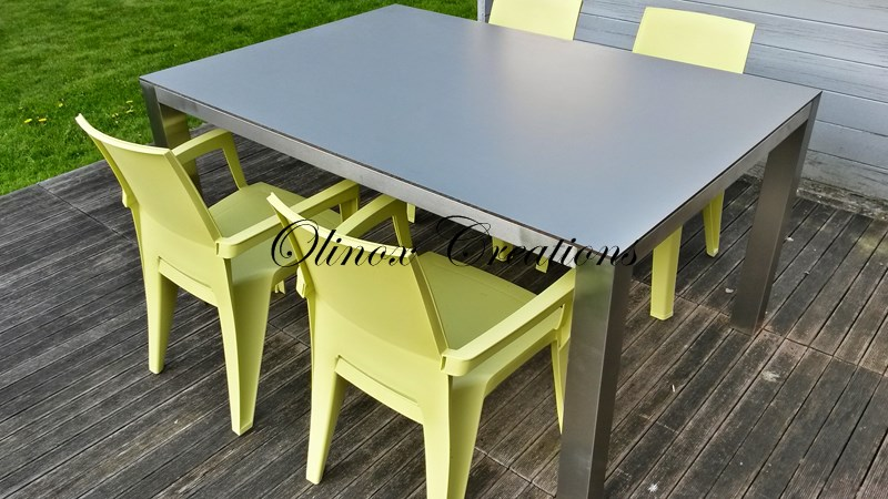 Mobilier sur mesure desserte en inox table basse m tal - Table metal exterieur ...